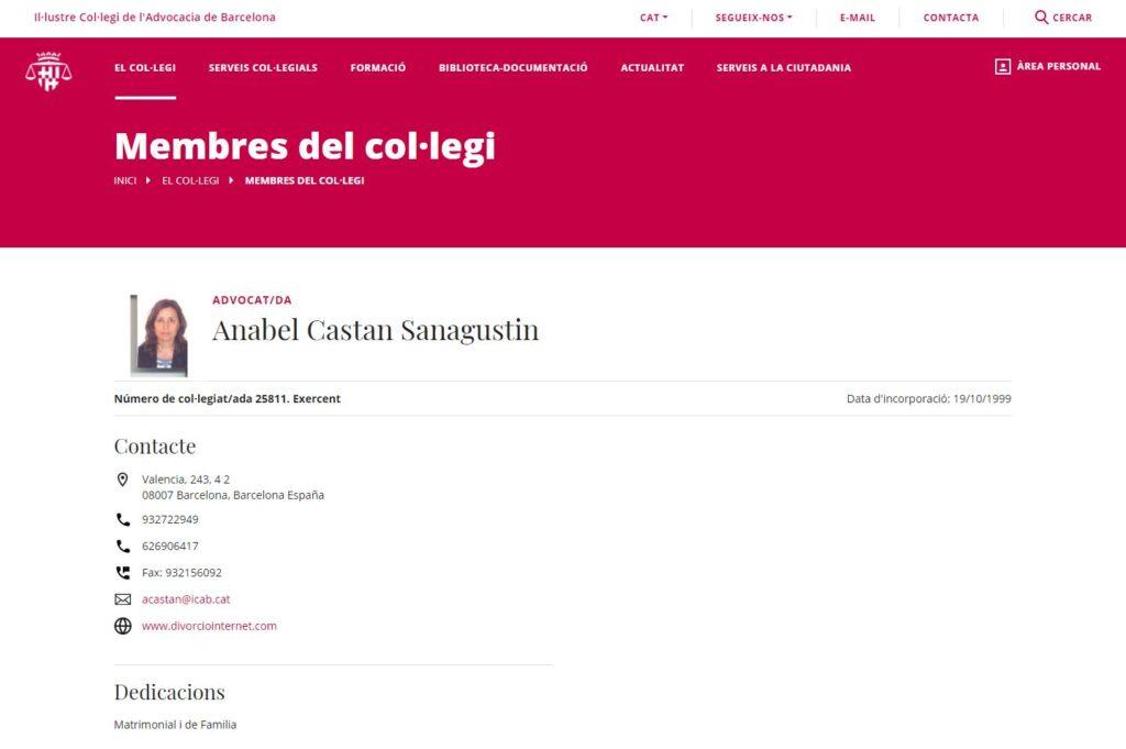 Ficha de Anabel Castán en Colegio de Abogados de Barcelona
